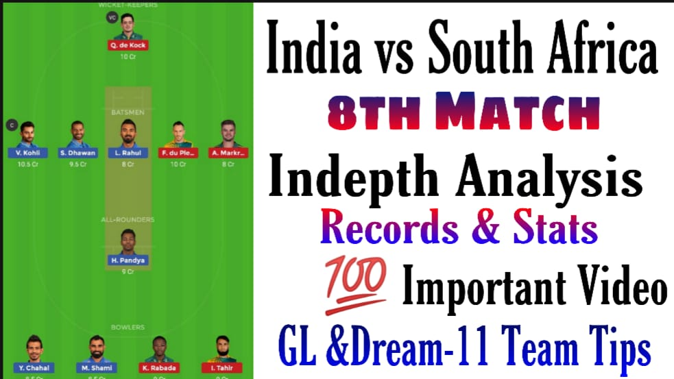Video Analysis: IND vs SA Dream11 8th Match Records and Stats