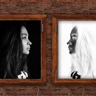 image of two faces of a person, dark and light