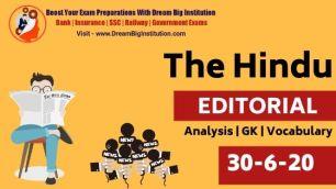 The Hindu Editorial Vocabulary 30 June 2020