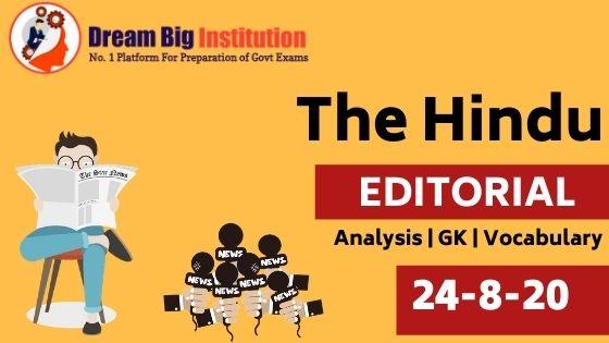 The Hindu Editorial VOCAB 24 August 2020