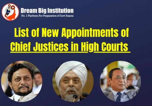 List of New Appointments of Chief Justices in High Courts
