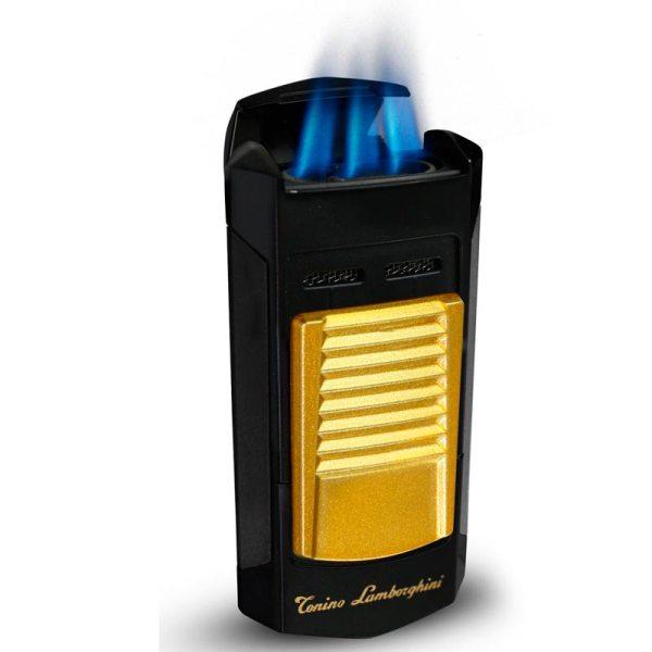 Tonino Lamborghini Sepang Matte Black and Gold Triple Torch Lighter-5177