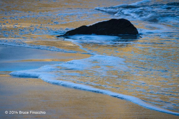 Blue and Gold Reflection In The Sand and Surf at Pfeiffer Beach, Big Sur