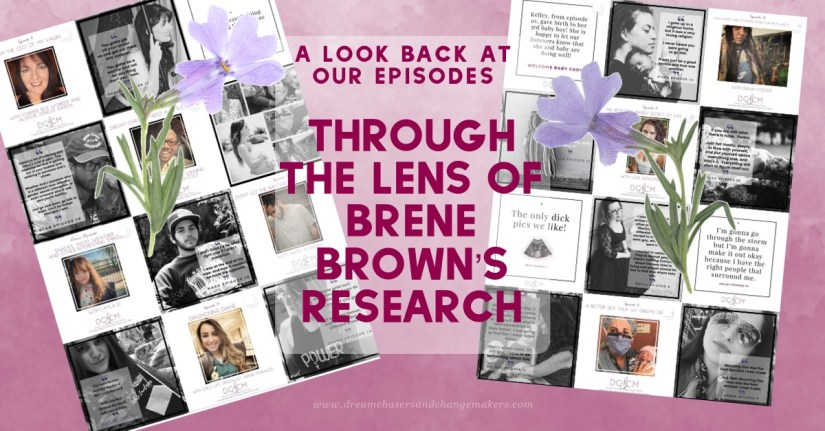 Title: A look back at our episode through the lens of Brené Brown's research.  A clip show featuring our  brave and vulnerable guests from  the dream chasers and change makers podcast.