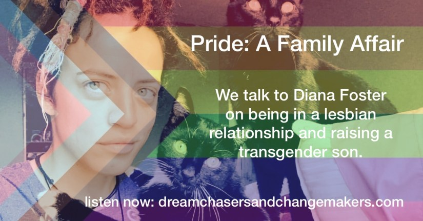 Title: Pride:  A Family Affair.  We talk to Diana Foster on being in a lesbian relationship and raising a transgender son.  Diana, is looking at the camera . with two black cats beside her.  The LGBT Pride flag is used as filter for the image.