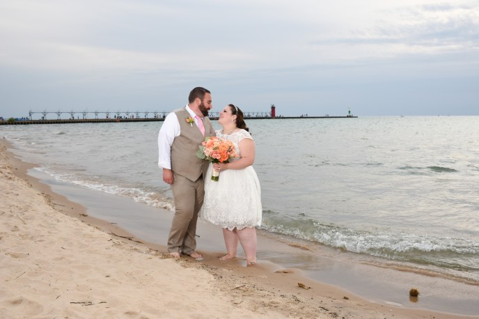 beach weddings in michigan, couple on the beach