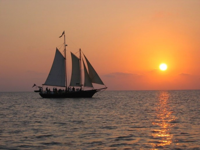 Schooner Serenity in Saugatuck on a sunset cruise for a boat wedding