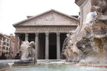 Photo of the classic Roman columns in front of Rome's ancient Pantheon temple