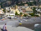 Photo of the pastel painted houses in Positano on the Amalfi coast in the south of Italy