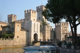 Photo of the crenallations of the castle at Sirmione on Lake Garda, northern Italy