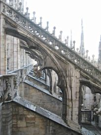 Milan's Duomo is famous for its intricate gothic flying buttresses adding support to the building