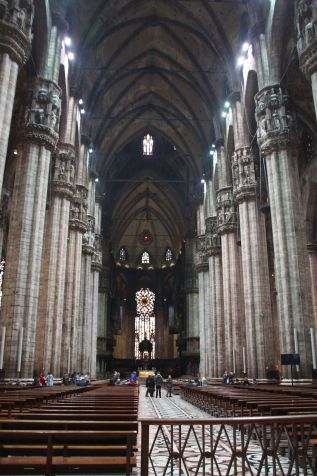 Milan's Duomo nave stands at 45m in height, making it the highest Gothic vaults of a complete church