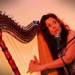 Ursula Burns with her harp at Sofa Sessions #5