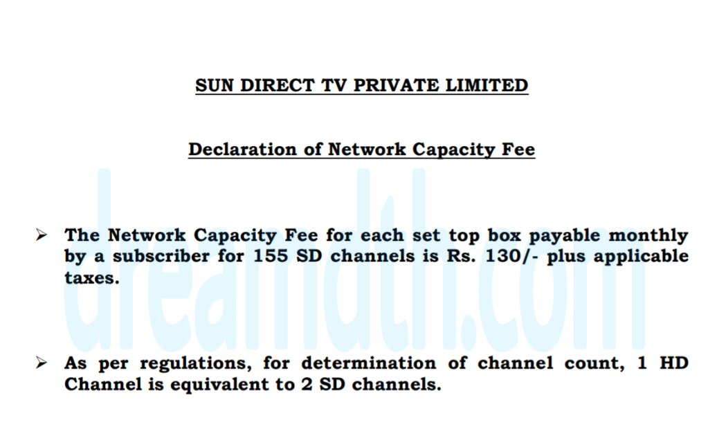 Sun Direct now allowing up to 155 channels for Rs 130 Network Capacity Fee