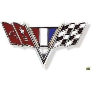Front Fender V-Flag Emblem -  64-67 Chevy Fullsize, 67 Camaro, 65-67 Nova