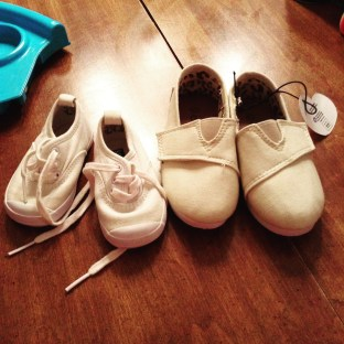Plain canvas shoes before color. The baby Keds are to the left.