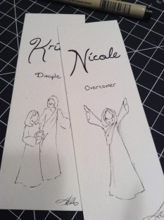 A sample of just two of my mini sketches on the fronts of the cards.