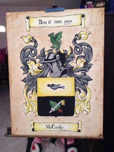 The finished product now complete with text including the clan motto (top) and name (bottom).