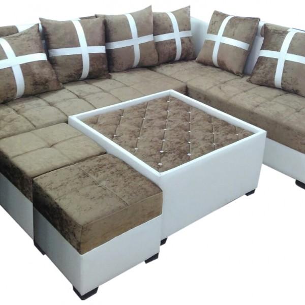 Delphia L Shape Sofa SetCenter Table And 2 Puffy Dream