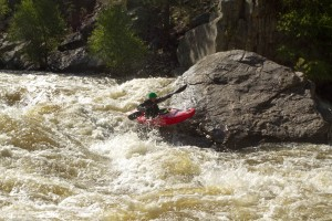 Me grinning on the Pineview splat rock on the Poudre.