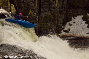 Christian Woodard boofing the last drop on the Terrill Gorge.