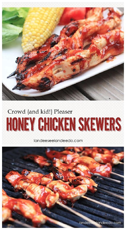 Chicken-Recipes- Crowd Pleasing Easy Honey Chicken Tenderloin Skewers Grilling Recipe via Landeelu