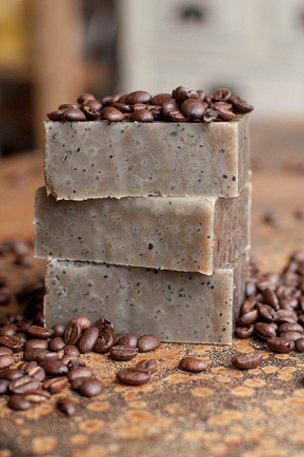 Do It Yourself Coffee Flavored Scented Soap Tutorial and DIY Recipe via Offbeat and Inspired