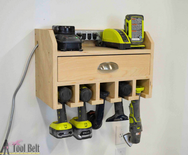 Do It Yourself Project - DIY Cordless Drill Storage and Charging Station with FREE PLANS via Her Toolbelt