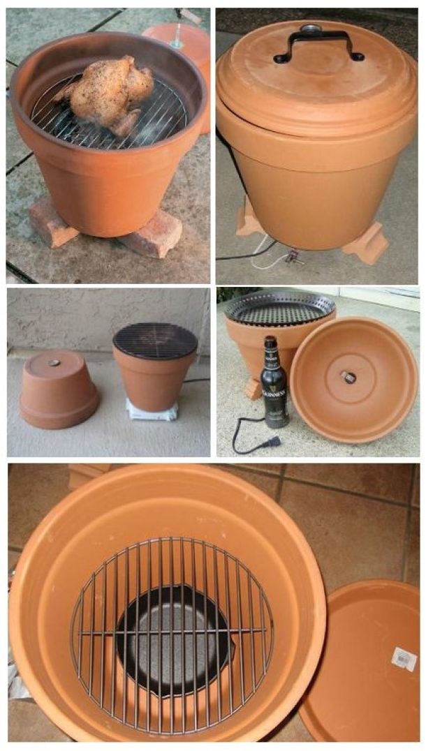 Do It Yourself Project - Perfect Manly gift for your Boyfriend, Husband or any guy on your list - Easy DIY Smoker Grill from a Terra Cotta Flower pot Tutorial via instructables