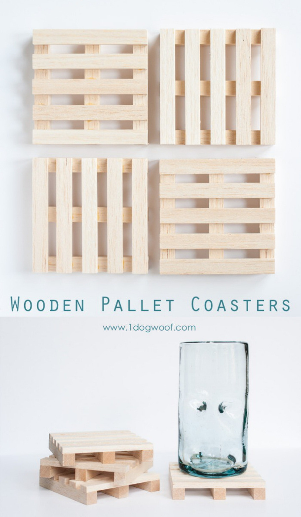 Do It Yourself Projects - DIY Wooden Pallet Drink Coasters Tutorial via One Dog Woof