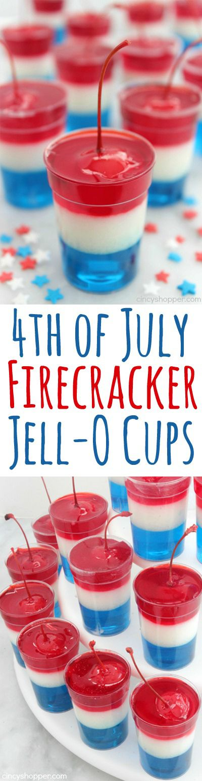 Do it Yourself 4th of July Party - Independence Day Red White and Blue with a Cherry on Top Jell-O Cups Recipe via Cincy Shopper