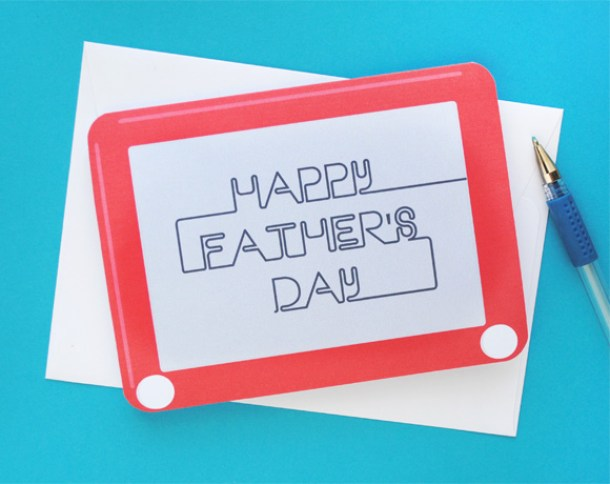 Fathers Day Cards FREE Printables - Cute Retro Etch A Sketch Paper Craft Card for Dad - via zakka life