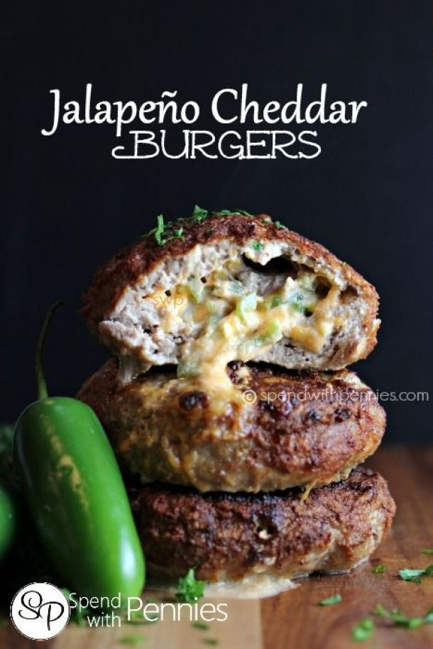 Hamburger Recipes - Grill The BEST Jalapeno Cheddar Burgers with ground beef or ground turkey - Recipe via Spend With Pennies
