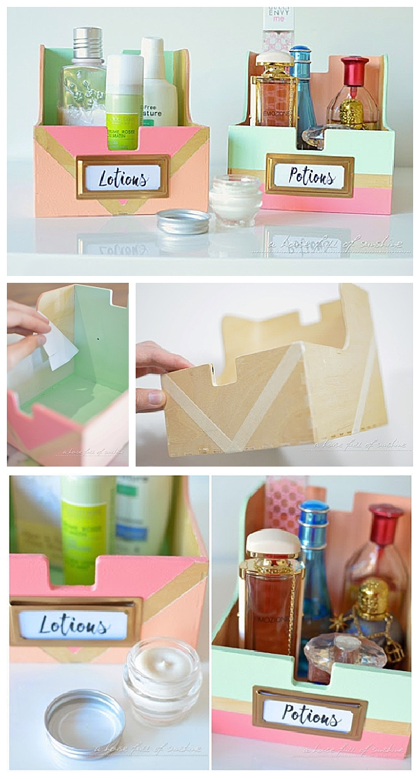 upcycle some old cd storage boxes into the prettiest toiletry storage