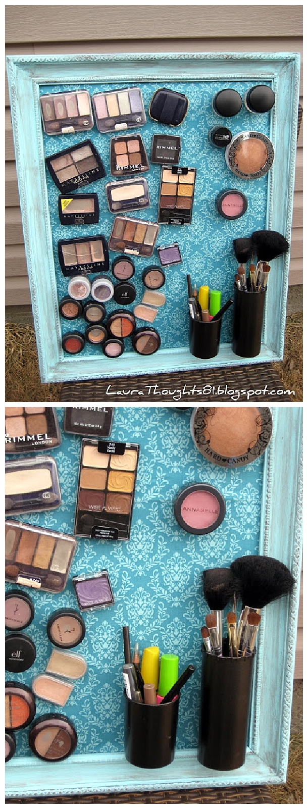 DIY Bathroom Organizer Ideas - DIY Magnetic Makeup and Beauty Tools Decorative Space Saving Organization Board via Laura Thoughts