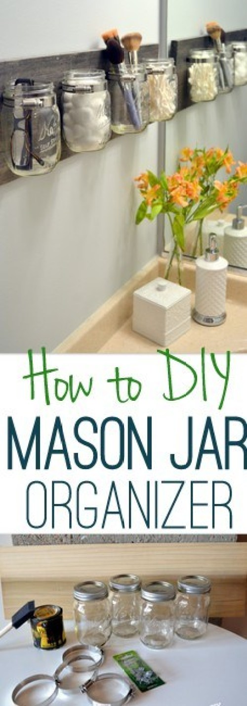 DIY Tips for an Organized Bathroom - Do it Yourself Pretty wall mounted hanging Mason Jar and Pallet Organizer Tutorial via DIY Playbook