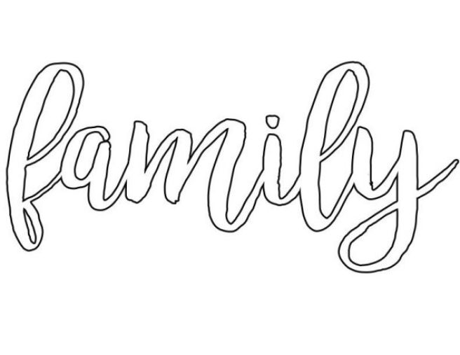 Family Word Art Pattern 8 1/2 X 11 inch Template