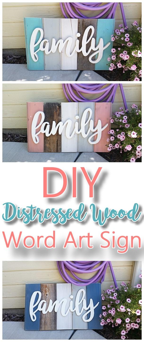 "Do It Yourself Art: New ""Old"" Distressed Barn Wood Word Art Indoor/Outdoor"