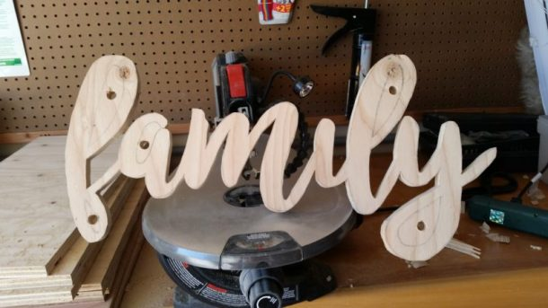 DIY Family Word Art Sign Woodworking Project Tutorial Using Scroll Saw to Cut out Word Art
