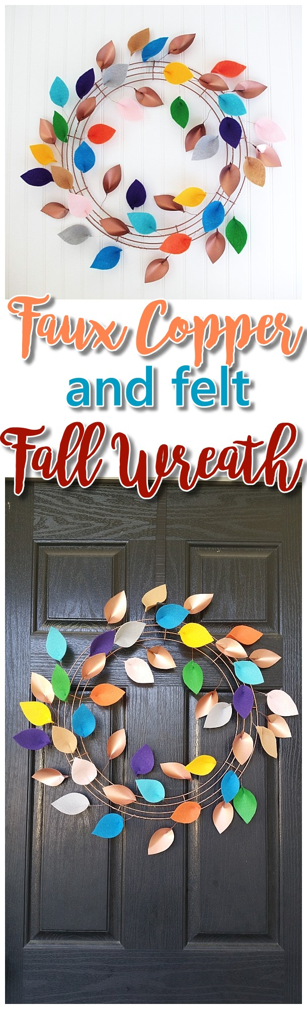 DIY Faux Copper and Felt Leaves Fall Wreath Decoration Tutorial - Pretty Indoor or Outdoor Do it Yourself Paper Crafts Project Autumn Wreath Easy Decoration by Dreaming in DIY
