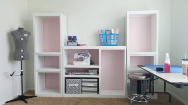 AFTER pics DIY 90s Entertainment Center Turned Craft Room Storage Organizer Wall Unit Furniture Makeover - Do it Yourself Project Tutorial
