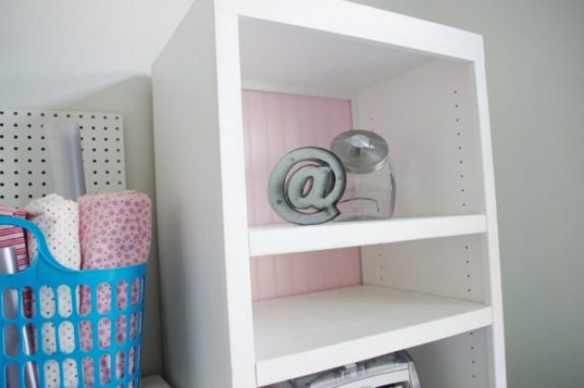 DIY 90s Entertainment Center Turned Craft Storage Organizer Wall Unit Makeover Do it Yourself Project Tutorial Beadboard Backing Bookshelves