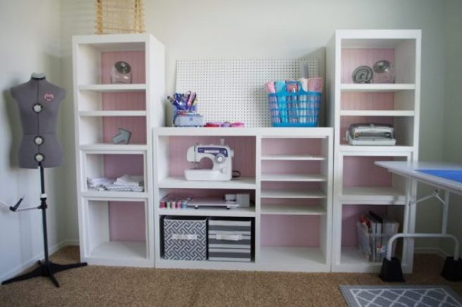 DIY 90s Entertainment Center Turned Craft Storage Organizer Wall Unit Makeover Do it Yourself Project Tutorial