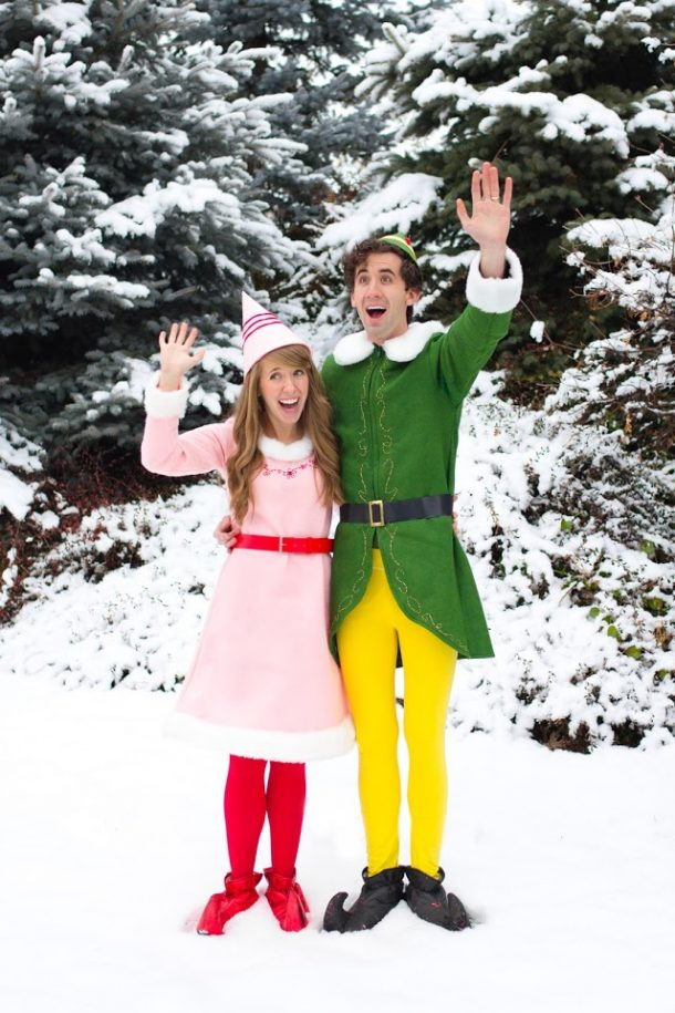DIY Couples Halloween Costume Ideas - Buddy the ELF and Jovie Movie Character Couples Handmade Costume DIY Tutorial via The House of Cornwall