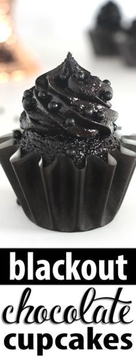 Blackout Chocolate Cupcakes and Frosting Recipe via Kara's Couture Cakes - The darkest chocolate cupcake and frosting recipes ever! These sweet and sexy cupcakes are a crowd pleaser every time!
