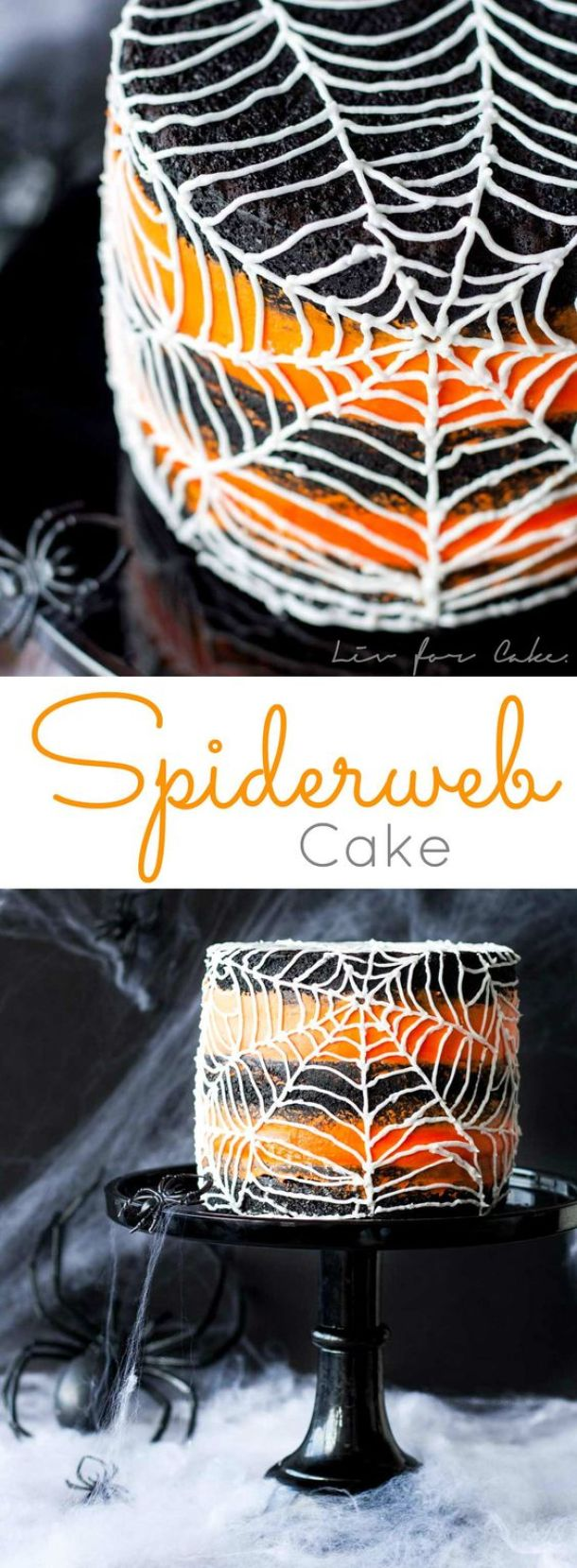 Halloween Party Recipes - Spiderweb Cake Dessert Recipe via Liv for Cake - Rich Black Cocoa Cake with an Orange Buttercream Frosting