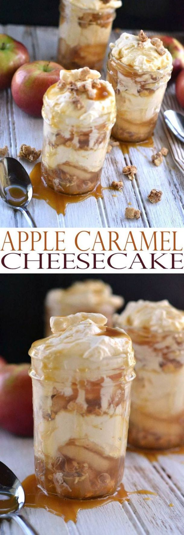 These would be perfect to serve at your Halloween Party or gorgeous on your Thanksgiving table! Apple Caramel Cheesecake Recipe – Mason Jar Desserts | All She Cooks