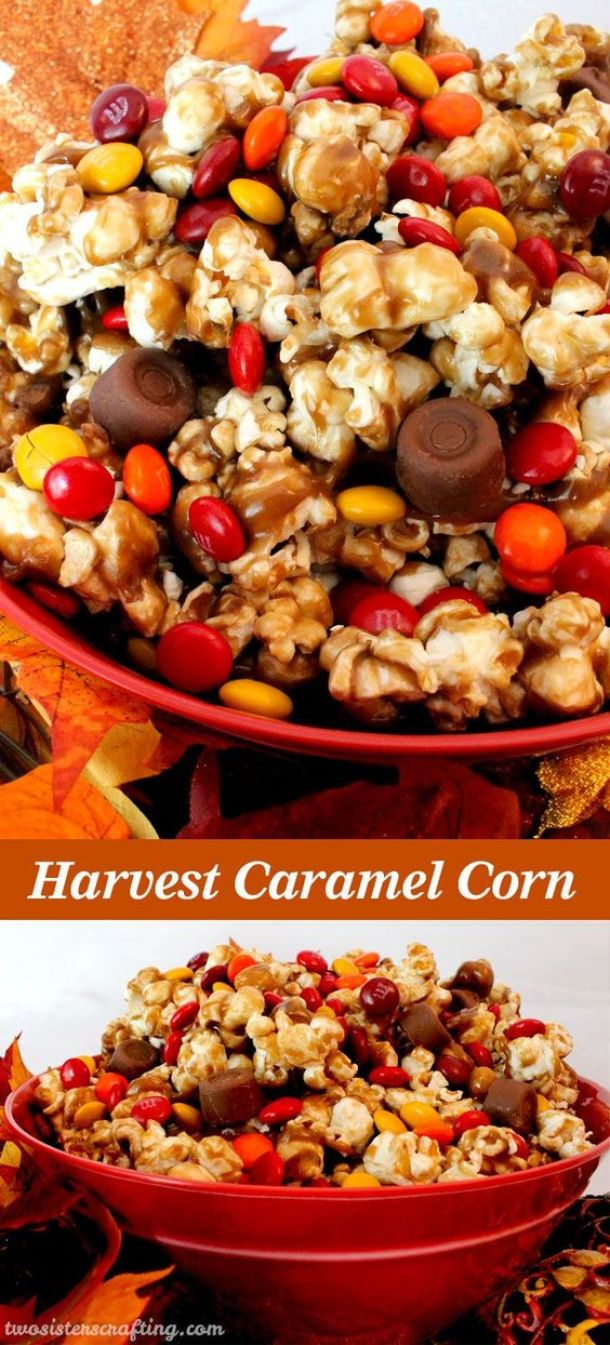 What a great Fall treat or Thanksgiving dessert. Salty popcorn, creamy caramel and sweet chocolate - sounds delicious! Harvest Caramel Corn Fall Treat Recipe | Two Sisters Crafting