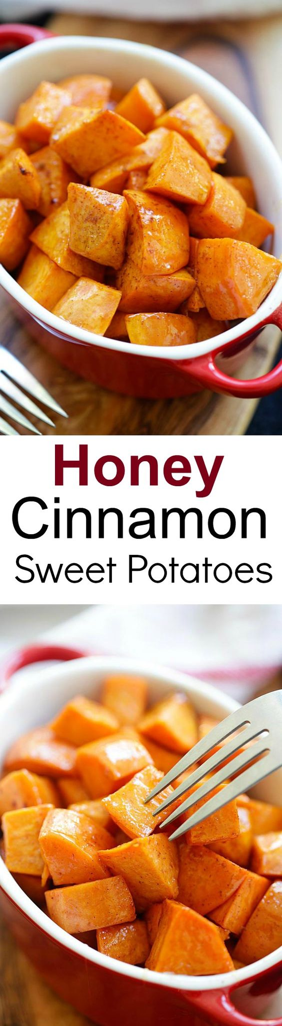 Honey Cinnamon Roasted Sweet Potatoes Recipe | Rasa Malaysia - The BEST Classic, Improved and Traditional Thanksgiving Dinner Menu Favorites Recipes - Main Dishes, Side Dishes, Appetizers, Salads, Yummy Desserts and more!