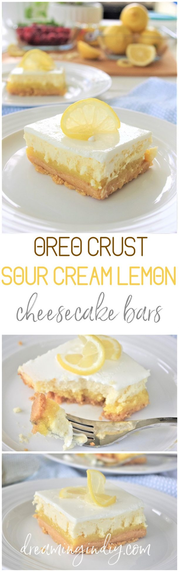 Lemon Sour Cream Cheesecake Dessert Bars with Lemon Oreo Crust - Easy Layered Treats Yummy Recipe via Dreaming in DIY
